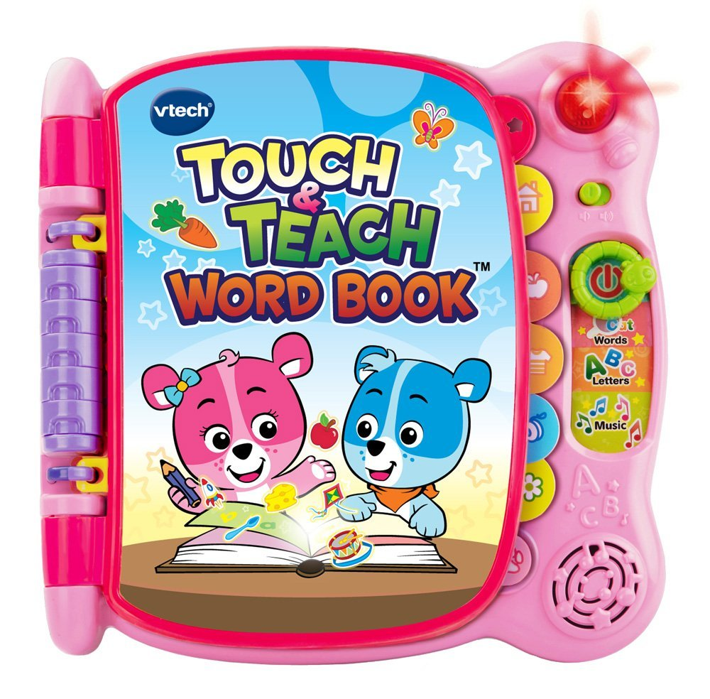 Touch and Teach Word Book Pink, This educational toy book for toddlers features 12... by VTech