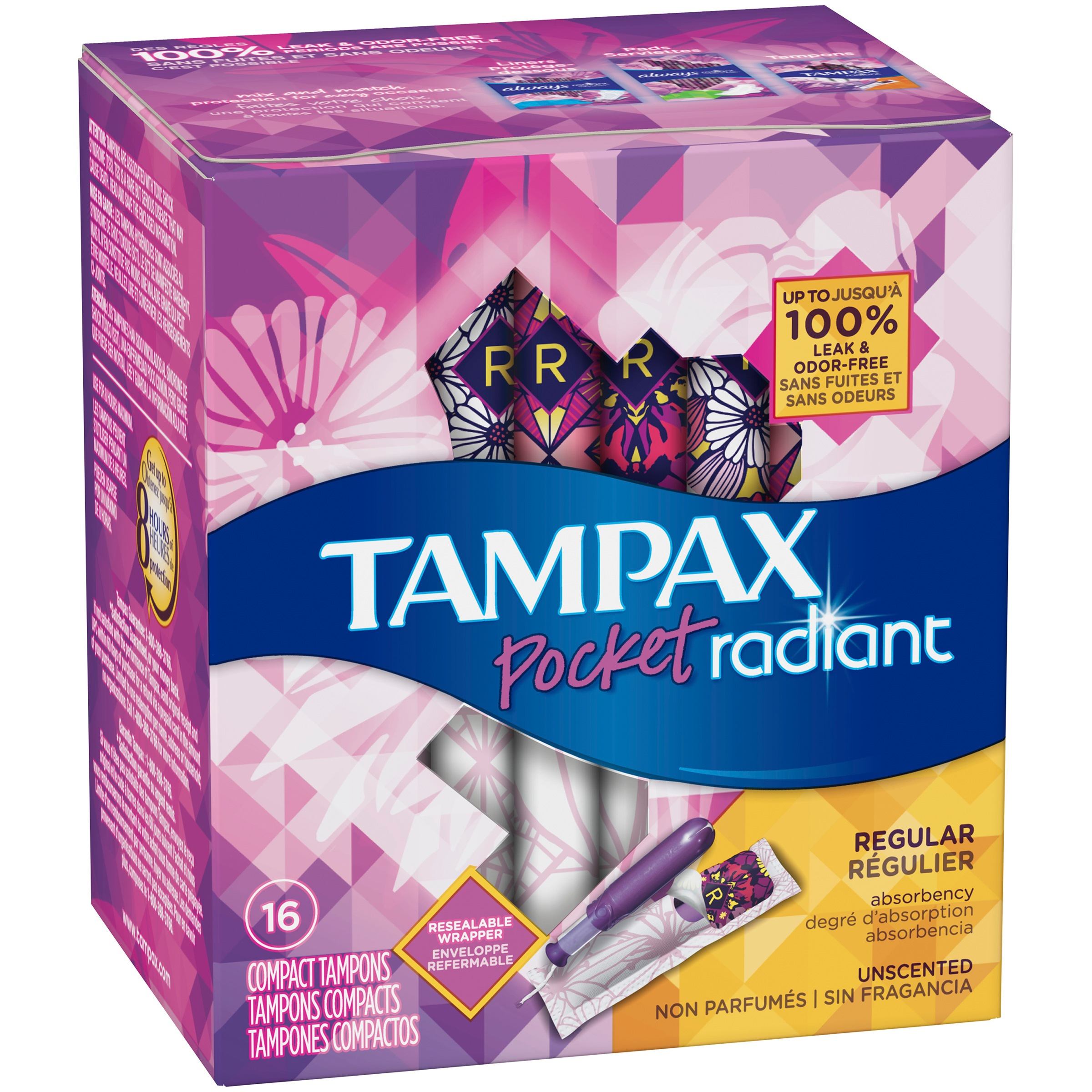 Tampax Pocket Radiant Compact Plastic Tampons, Unscented, Regular, 16 Count