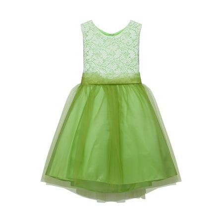 Kids Dream Girls Lime Lace Tulle Plus Size Junior Bridesmaid Dress