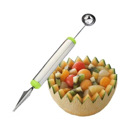 Carving Watermelon Halloween (Stainless Steel Fruit Ripple Carving Cutter Double Headed Fruit Digger Watermelon Dig Ball Scoop Ice Cream)