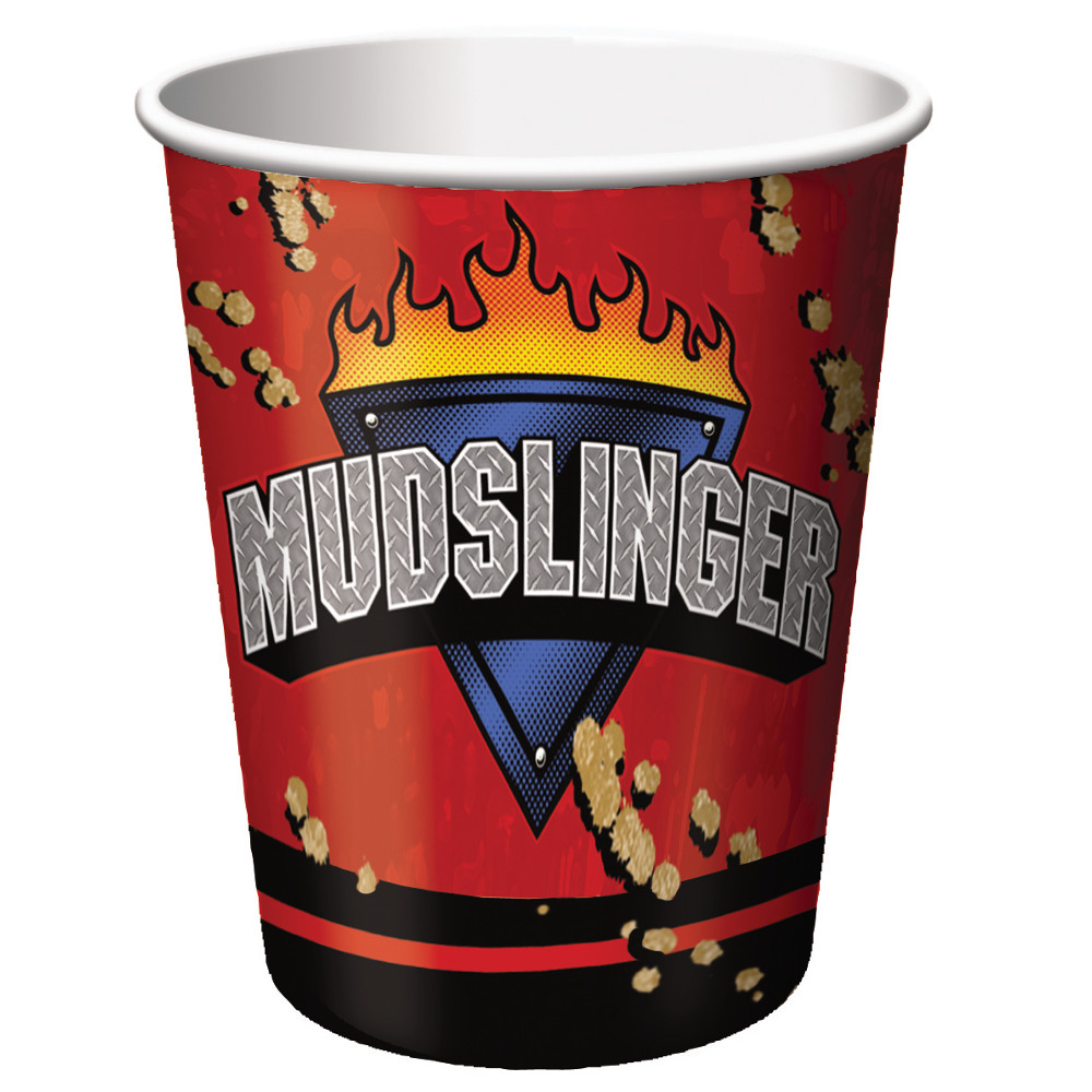Club Pack of 96 Mudslinger Disposable Paper Hot and Cold Drinking Party Cups 9 oz.