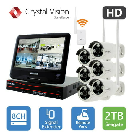 [8CH] Crystal Vision CVT9608E-3010W All-in-One TRUE HD Wireless Surveillance System NVR CCTV w/ 2TB HDD, Built-in Monitor & Router, Camera Auto Pair (Wireless Surveillance)