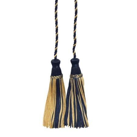 Glow In The Dark Ties (Deep Blue, Light Gold Double Tassel / Tassel Tie with 4