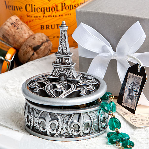 12 Eiffel Tower design curio box favors