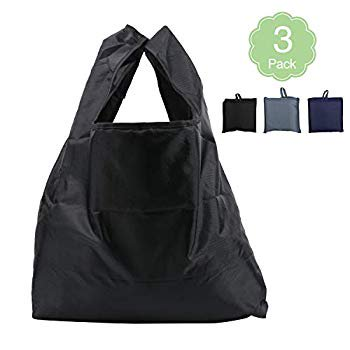 Foldable Reusable Shopping Bag Extra Large 50Lbs, 3PCS Grocery Bags Ripstop Polyester Sturdy Washable Recyclable Tote Bags for Supermarket Storage Daily Use Mixed Colors Black Grey Navy blue Foldable Reusable Shopping Bag Extra Large 50Lbs, 3PCS Grocery Bags Ripstop Polyester Sturdy Washable Recyclable Tote Bags for Supermarket Storage Daily Use Mixed Colors Black Grey Navy blueColor:Pure-3Pack                               Features:-Fits easily into your purse or leaving in the car and not taking up any room-Perfect gift: The reusable grocery bag is a good idea if you get these shopping bag as a gift for your family or friends-Washable & Eco-friendly: Grocery bags can be machine washer without any worry about stain left. Easily and quickly dry up. Use these recycle shopping bags to reduce waste in the landfill and oceans, to protect our mother earth-Perfect for grocery shopping, travel, home organizing, outdoor camping and more-Material: Polyester; bag weight: 71g/2.5oz; Maximum Load: 50lb-Expanded size: 15.7in (Hand strap 7.8in), folding size: 5.7x 5.7 inWide & Creative Applications: -Shopping bags for groceries-Picnic grocery bags for hiking and outdoor sports activities-Portable reusable bags-Large capacity shopping bag for heavy groceriesPackage content: 3 x Reusable washable grocery bags with pouches Note: 1.The actual item's color maybe slightly different from the pictures shown due to the lighting or computer screens2.WASHABLE: For long use, recommend to hand wash with mild detergent, hang to dry
