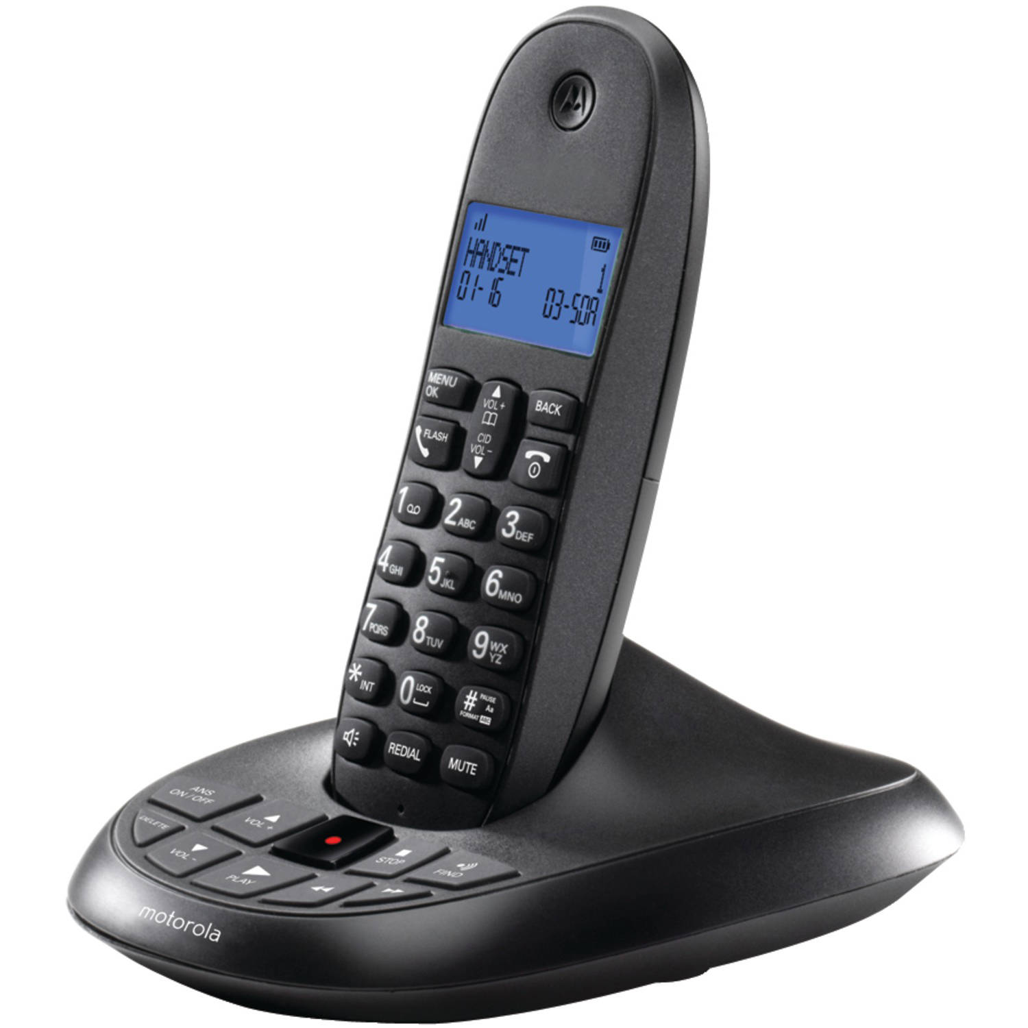 Motorola C1011LX Dect 6.0 Cordless Phone System with Caller ID and Answering System, 1-Handset System