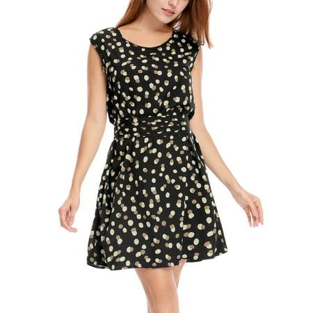 4cf8395ccf93 Women's Round Neck Sleeveless Dots Prints Chiffon A Line Mini Dress Black S  (US 6)