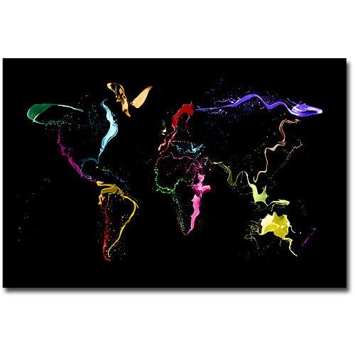 """Trademark Art """"World Map - Thrown Paint"""" Canvas Wall Art by Michael Tompsett"""
