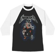 Metallica Men's  Vintage Electric Chair Baseball Jersey White & Black
