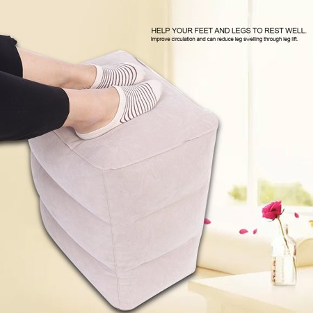 Yosoo Travel Foot Rest Pillow, Inflatable Travel Leg Rest Pillow with Storage Bag for Foot Rest on Airplanes, Cars, Buses, Trains, Office, and Kids to Sleep on Long Flights - image 5 of 9