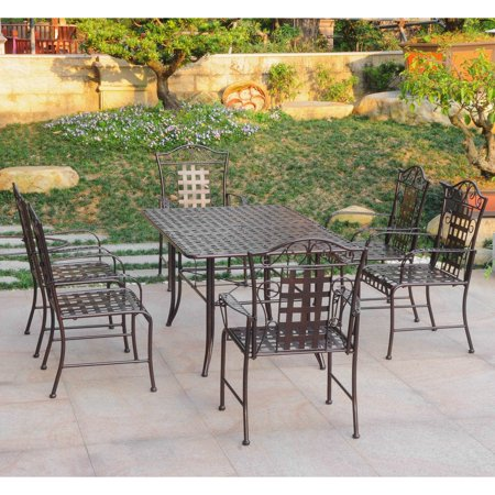 Wrought Iron Mesh - International Caravan Mandalay Iron 7 Piece Patio Dining Set