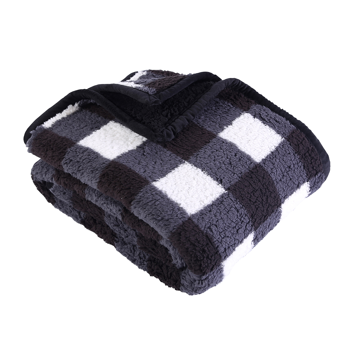 "Better Homes & Gardens Sherpa Throw Blanket, 50"" x 60"", Black Plaid"