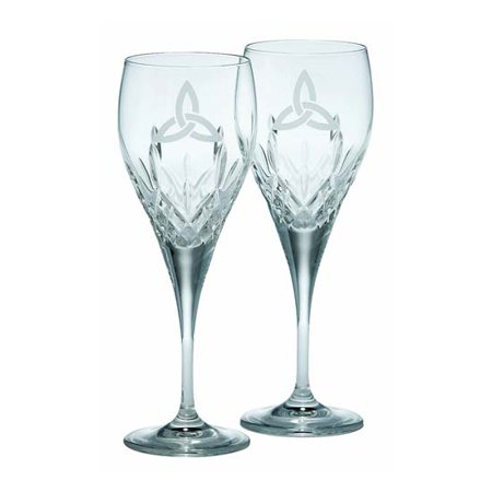 Galway Trinity Knot Stemware Crystal Large Flute Pair Marquis Stemware Flute