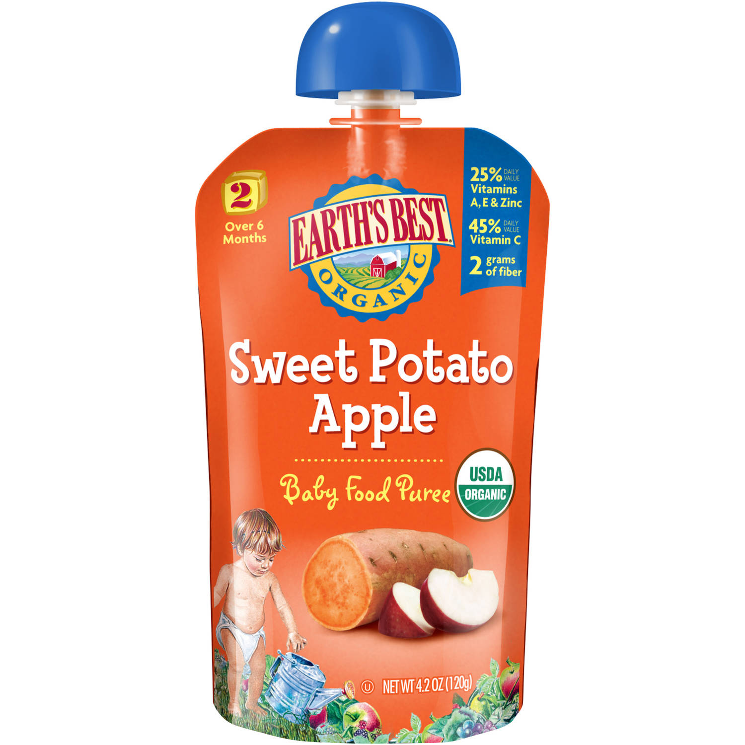 Earth's Best Second Foods Sweet Potato Apple Baby Food Puree, 4 oz