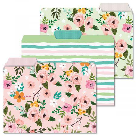 12 Painted Florals File Folders - Set of 12 (3 designs) 1/3 Cut Staggered Tabs, Letter-Size Designed (Tac Folder)