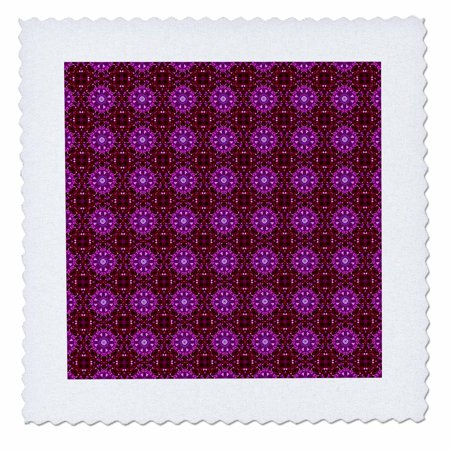 3dRose Red, pink, and purple geometric flowers, squares, and crosses weave pattern - Quilt Square, 10 by (Aluminum Cross Weave)