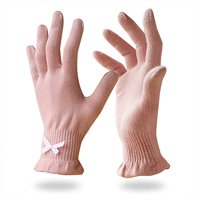 EvridWear 6 Pr/Pack Beauty Cotton Gloves with Touchscreen Fingers for SPA, Eczema, Dry Hands, Hand Care, Day and Night Moisturizing,3 Sizes(S/M, Feather Weight Pink Color)