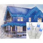 Set of 70 Blue & Pure White LED Wide Angle Icicle Christmas Lights - White Wire