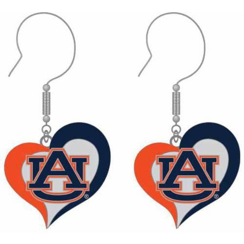 NCAA Auburn Swirl Heart Shape Dangle Logo Earring Set