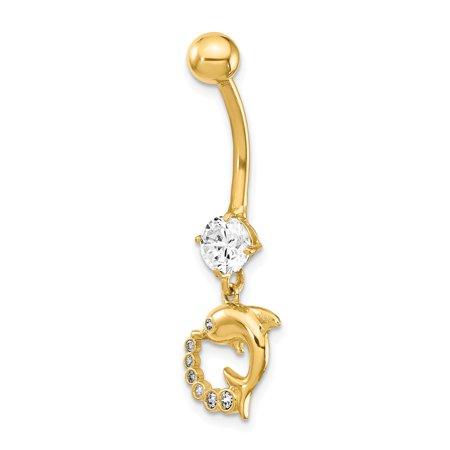 Jewelryweb 12 1mm 14k Dolphin Cubic Zirconia Dangle Belly Ring Walmart Com