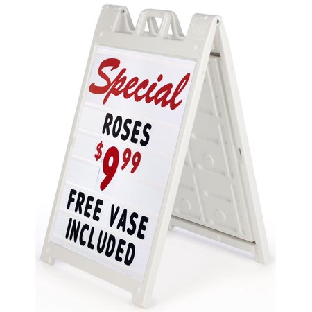 - Signicade Plastic A-Frame Sidewalk Signs with (2) 24 x 36 Letter Board Inserts, Set of 300 Characters Included, Double Sided (White) (BSW36LTRWT)