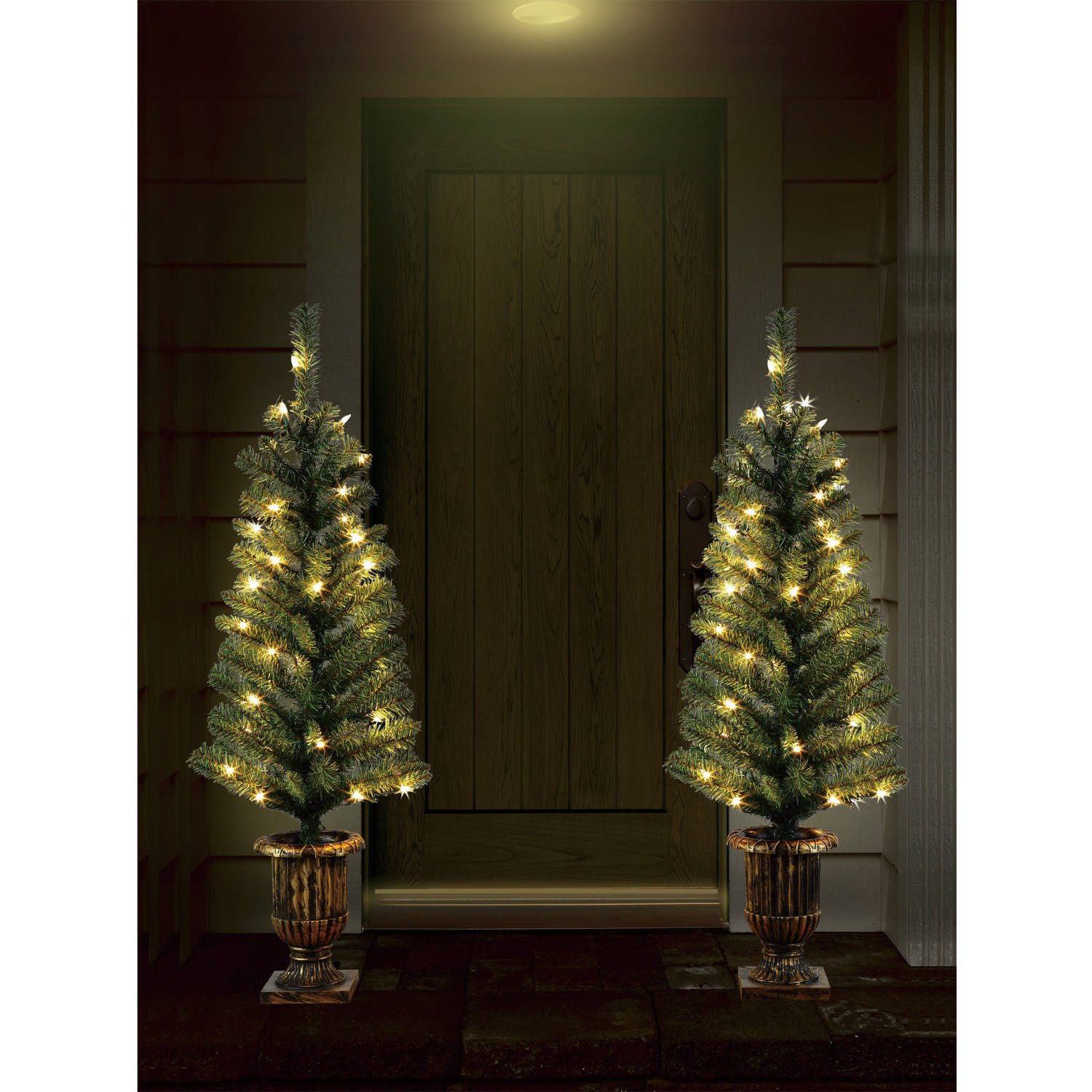 Holiday Time Christmas Decor Pre-Lit 2-Pack 3.5' Artificial Porch Tree, Clear Lights