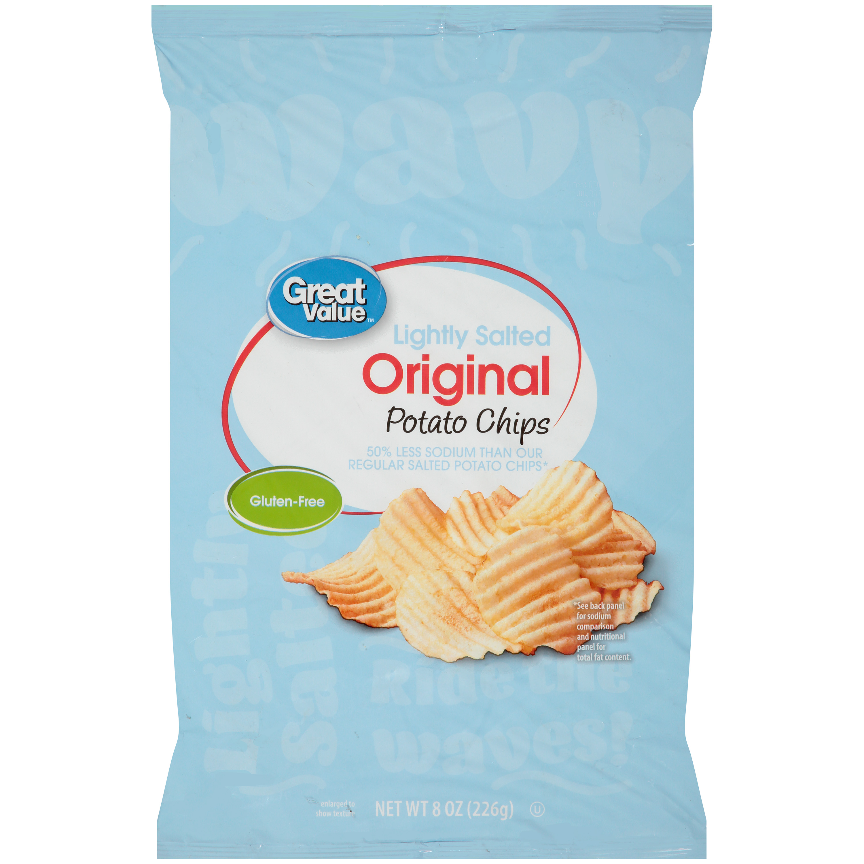 Great Value Wavy Potato Chips, Lightly Salted, 8 Oz