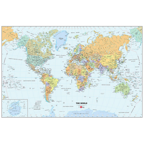 WallPops World Map Dry-Erase Calendar Decal
