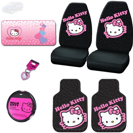 New Hello Kitty Car Seat Covers, Steering Wheel Cover, Floor Mats, Sunshade and Key Chain Set - Shipping Included (Hello Kitty Seat Cover For Car)
