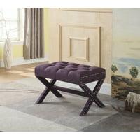 Chic Home Gaia Neo Traditional Tufted Linen X-Leg Ottoman