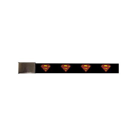 Superman DC Comics Superhero Classic Logo Black Background Web Belt Chrome