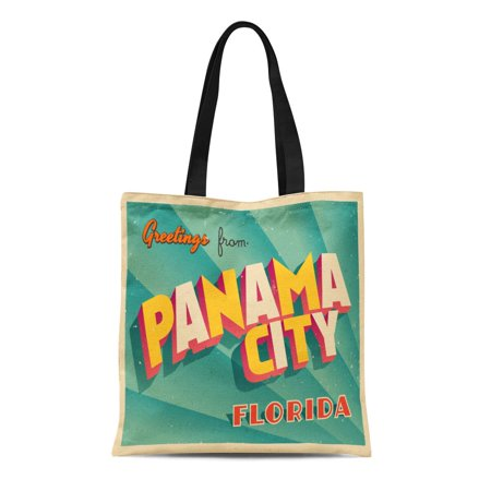 SIDONKU Canvas Tote Bag Vintage Touristic Panama City Florida Effects Can Be Easily Durable Reusable Shopping Shoulder Grocery (Panama City Stores)