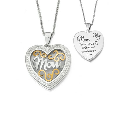 - Stainless Steel Two-Toned Mom Locket Pendant, 20 Rope Chain