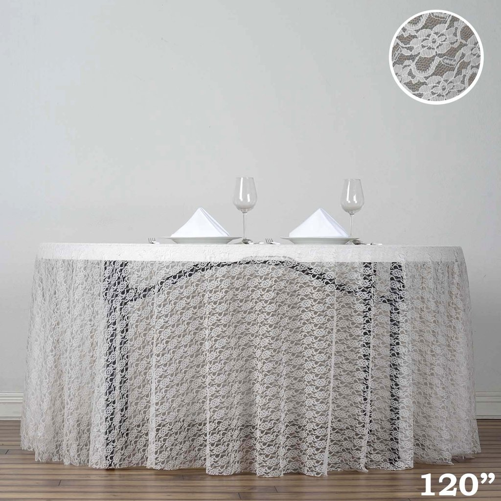 BalsaCircle 120-Inch Round Polyester Tablecloth with Floral Lace for Party Wedding... by