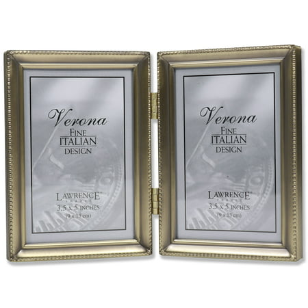 Antique Gold Bead 3.5x5 Hinged Double Picture Frame