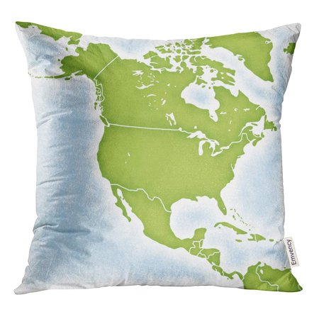 STOAG America Map of North American Continent Caribbean Central Mexico Throw Pillowcase Cushion Case Cover 16x16
