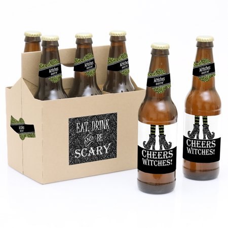Spooktacular - Eat, Drink and Be Scary - Witch Brew Halloween Party Decorations for Women and Men - 6 Beer Bottle Label - Scary Witches