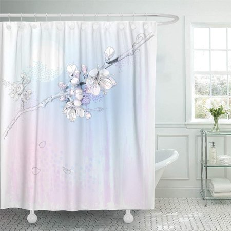 - PKNMT Flower Cherry Blossoms in Full Bloom Peach Oriental Apple Tree Plum Chinese Korea Bathroom Shower Curtain 66x72 inch