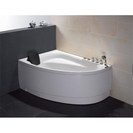 5 ft. Single Person Corner White Acrylic Whirlpool Bath Tub - Drain on Left