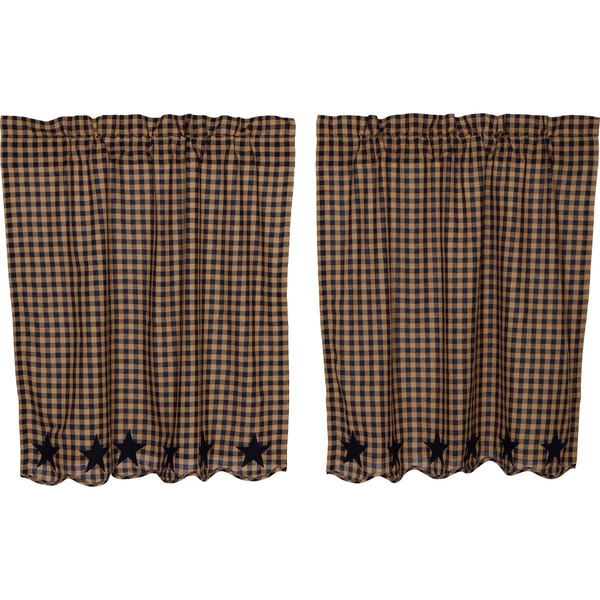 Navy Blue Primitive Kitchen Curtains Navy Star Rod Pocket