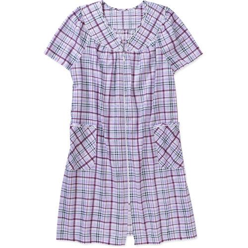 Simply Basic Women's Short Sleeve Zip Front Breakfast Gown