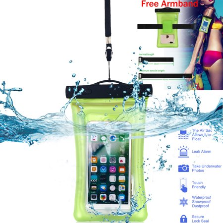 Universal Waterproof Floating Case with Armband and Neck Strap- Clear/Green