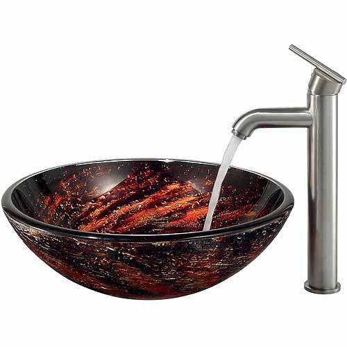 Vigo Northern Lights Glass Vessel Sink and Faucet Set, Brushed Nickel