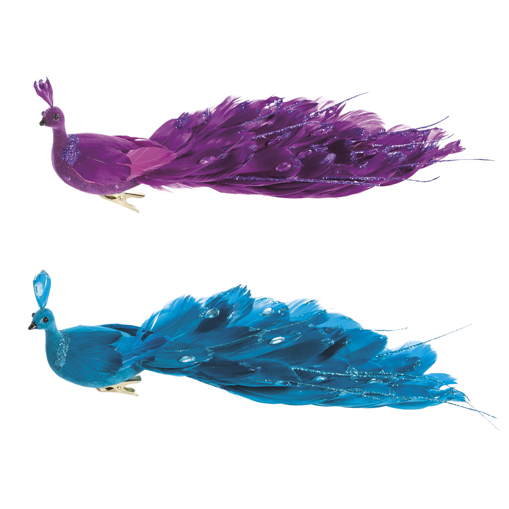 Set of 2 Purple Peacock Clip-On Ornaments w