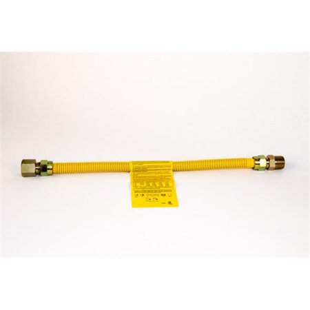 Charman 800-58-A14-24 Yellow Coated Gas Connector - 5/8 in. OD 3/4 in. MIP x 1/2 in. FIP - 24 in. (Pack of 4) - image 1 of 1