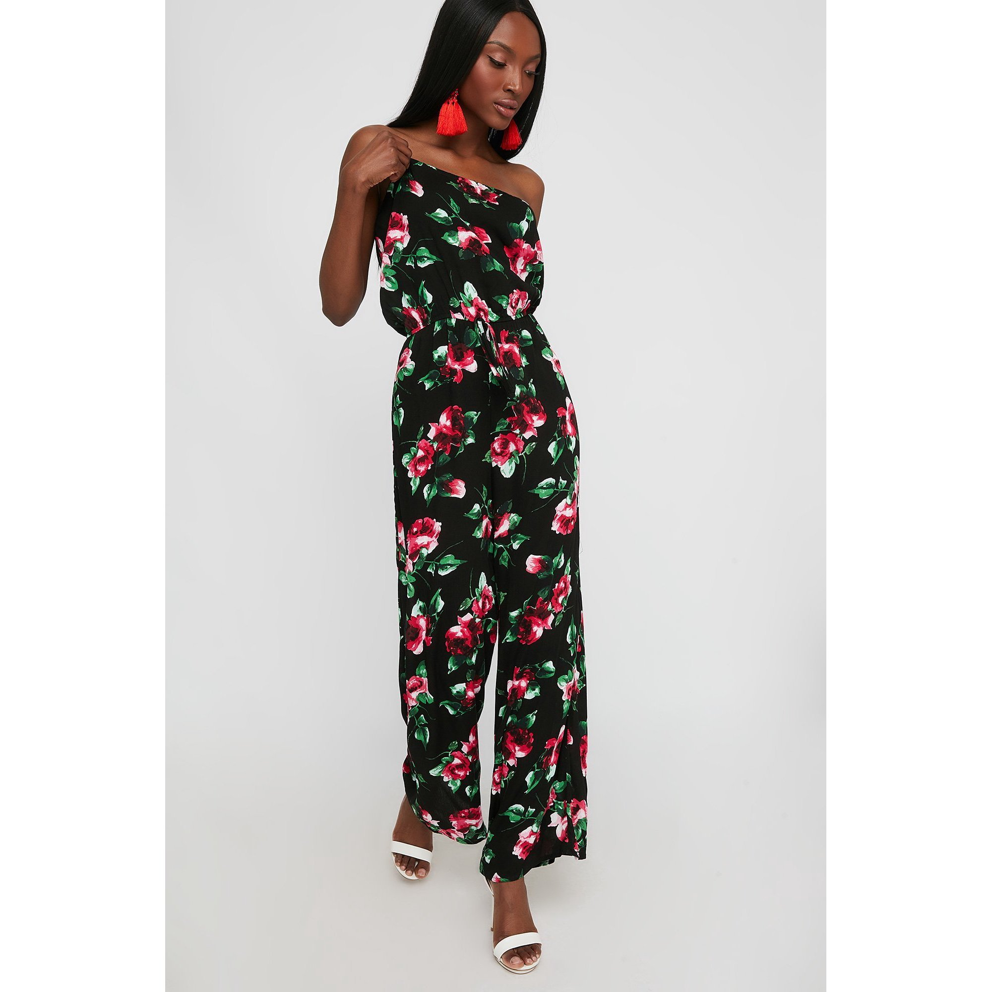 57e5e0b5b80 Urban Planet Women s Floral Tube Wide Leg Jumpsuit