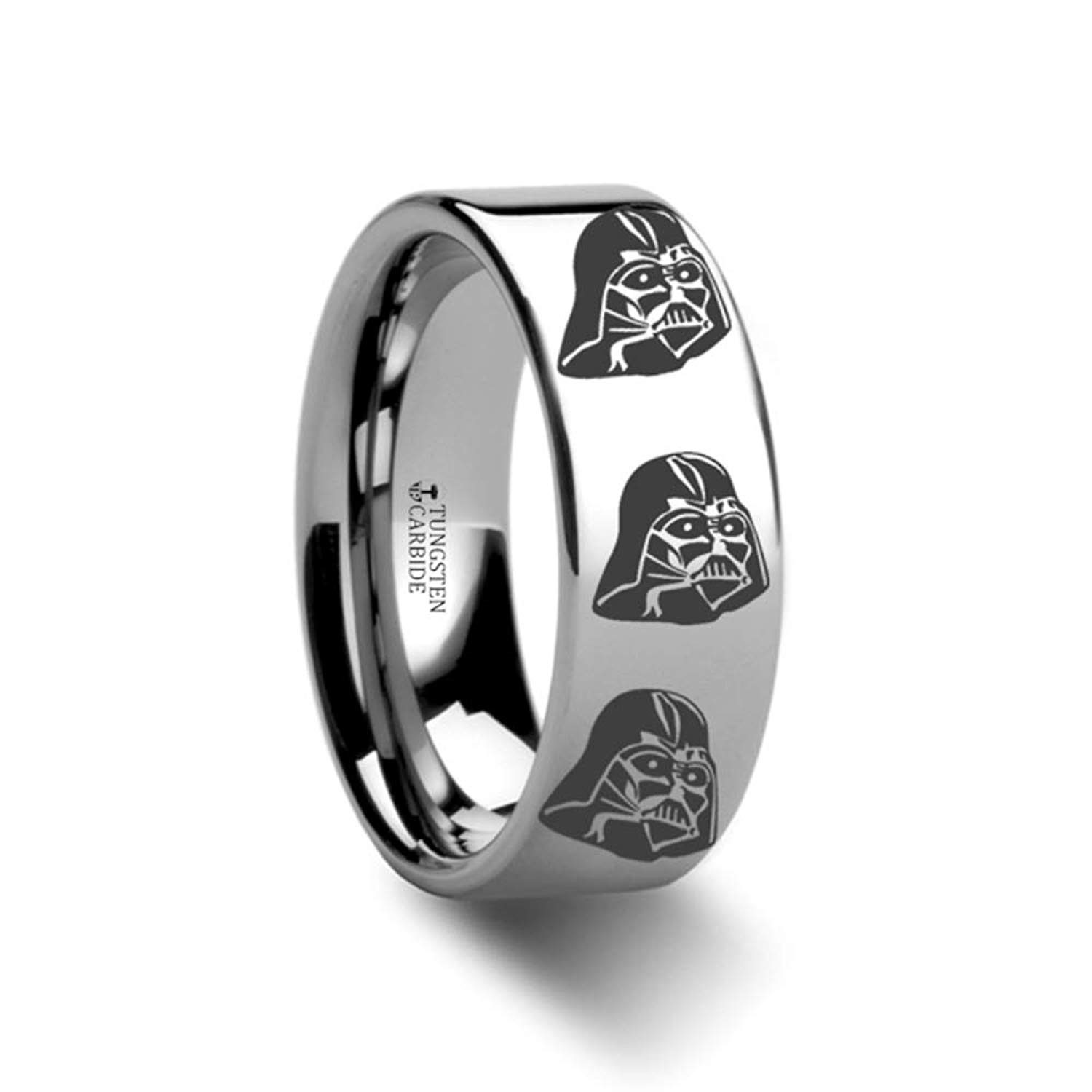 Thorsten Star Wars Tie Fighter X-Wing Design Ring 12mm Black Tungsten Wedding Band Ring from Roy Rose Jewelry