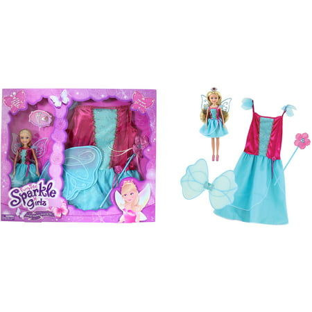Funville sparkle girlz doll with dress up, fairy, blonde - Fairy Dressup