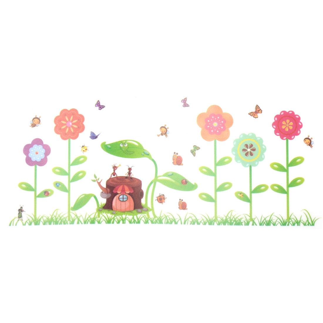 Flower Stump Print Water Resistant Adhesive Wall Sticker Decal Mural 70 x 50cm - image 5 de 5