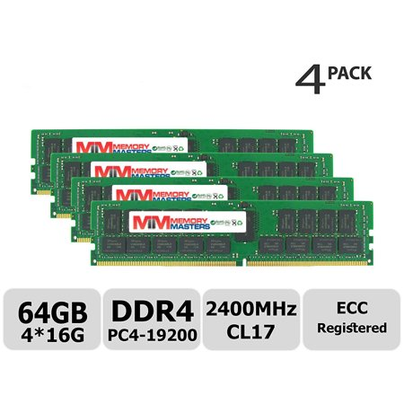 MemoryMasters Hynix 64GB Kit (4x16GB) DDR4 2400MHz PC4-19200 Registered ECC  1 2V CL17 2Rx4 Dual Rank 288 Pin RDIMM Server Memory RAM Module Upgrade